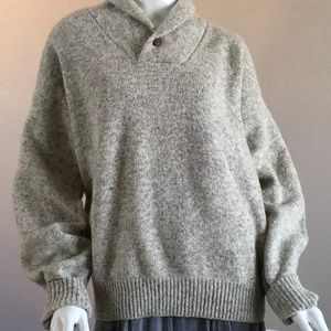 Gray Wool Blend Grandpa Sweater